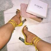 shoes,chunky heel,yellow,clear heels