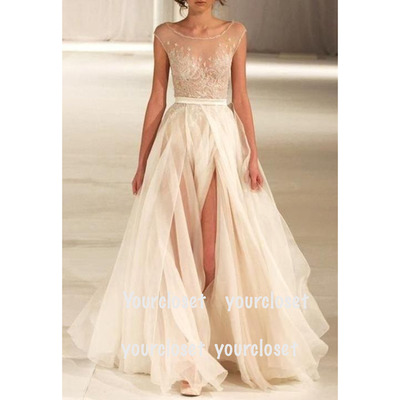 Prom dress in yourcloset · new style amazing white lace tulle sleeveless long evening dress / prom dresses · online store powered by storenvy