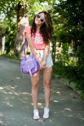 kolorowa dusza,t-shirt,shorts,sunglasses,jewels,bag,shoes,purple,pastel,satchel