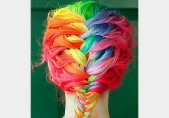 hat hair rainbow braid cute girly tie dye