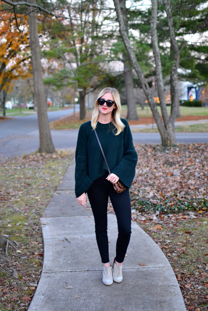 out+outfit blogger sweater shoes sunglasses booties crossbody bag fall outfits