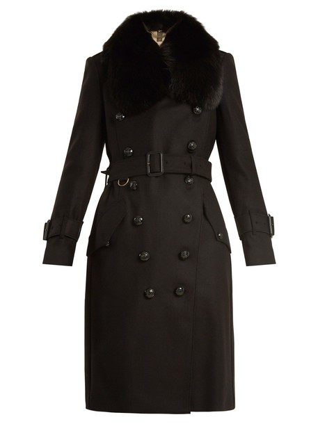 Burberry coat fur wool black