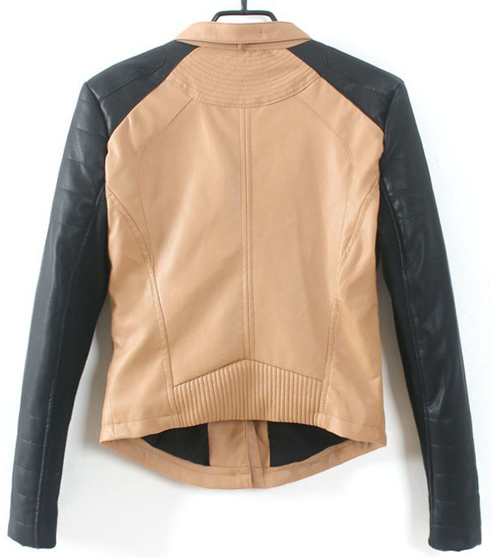 Khaki Contrast Long Sleeve Zipper PU Jacket - Sheinside.com