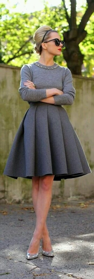 grey retro dress classic warm pleated skirt office outfits grey dress cardigan shirt