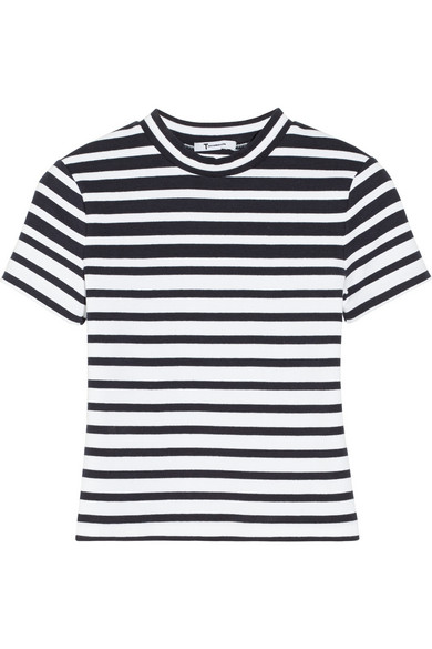 T by Alexander Wang | Cropped striped stretch-cotton top | NET-A-PORTER.COM