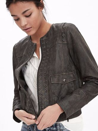 jacket leather jacket spring jacket embellished banana republic
