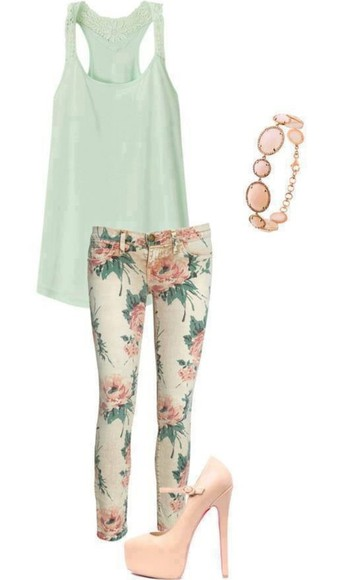 pants cute flowers printed pants floral skinny jeans clothes jeans trousers outweare tank top shoes