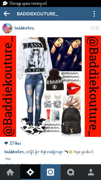 dope baddiekouture_ outfit idea red lipstick crewneck bag jewels outfit instagram ootd classy ripped jeans pom pom beanie black backpack white sweater