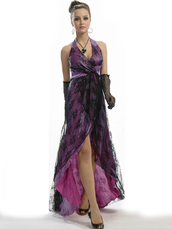 elegant waist halter purple prom dresses