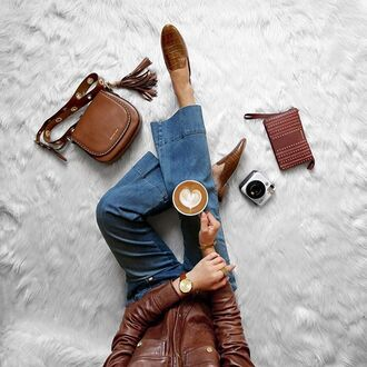 shoes tumblr denim jeans blue jeans brown shoes loafers bag brown bag coffee fall colors brown leather leather jacket pouch leather bag brown leather bag fall outfits flare jeans