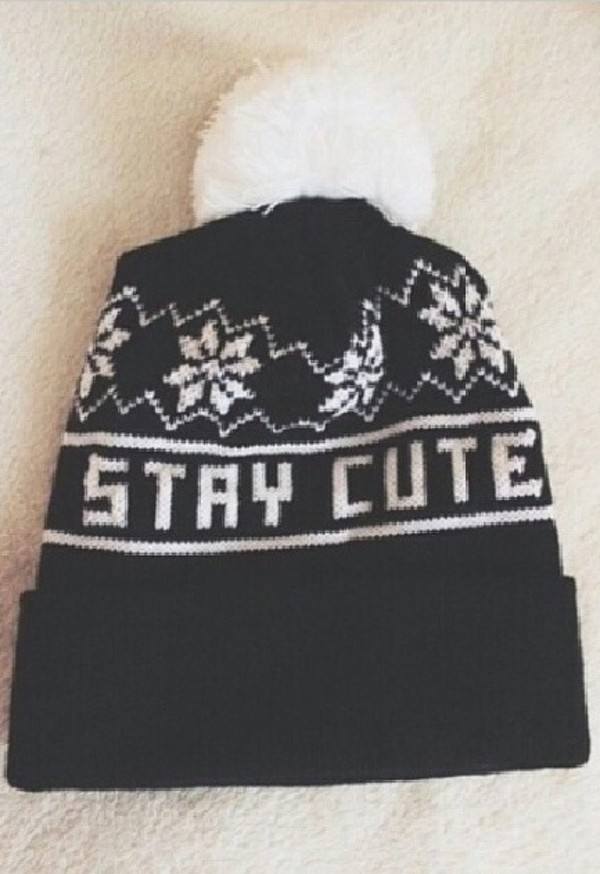 hat black stay cute white