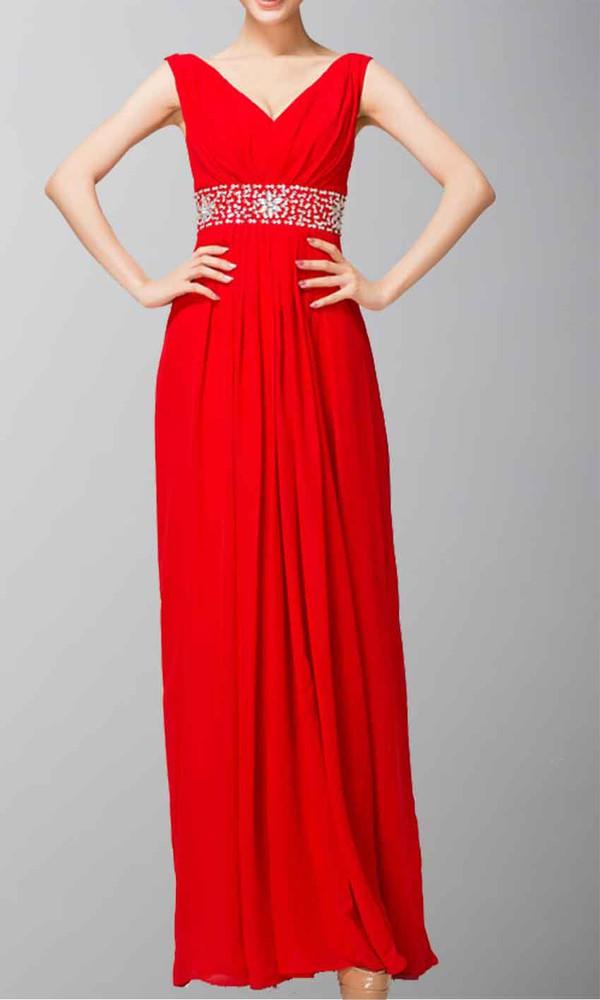 red dress v neck dress empire waist dress chiffon dress slim dress wide straps long prom dress prom dress long formal dress