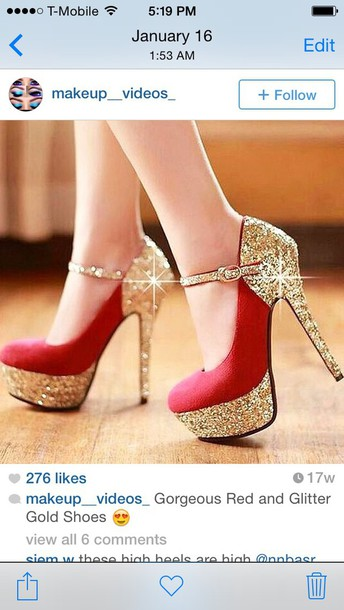 shoes red and glitter gold