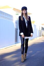 marilyn's closet blog,blogger,jacket,shirt,pants,shoes,jewels,hat,bag,ankle boots,leather pants,blazer
