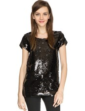 top,pixie market,pixie market girl,sequin top,black sequin top,party top,night out top,new years top,fab top,sparkly top