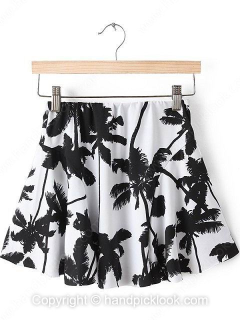 White Coconut Tree Print Pleated Skirt - HandpickLook.com