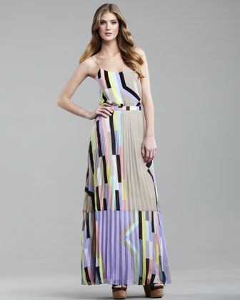 Arizona-Print Pleated Maxi Skirt - Neiman Marcus