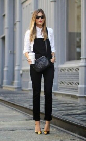 pants white shirt black and orange heels blogger sunglasses black overalls