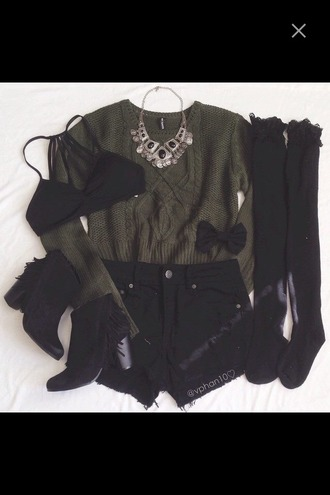 sweater army green sweater knee high socks boots bra bralette bikini top necklace shorts black shorts sweatshirt green sweater outfit
