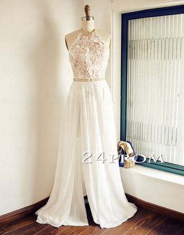White A-line Lace Backless Long Prom Dresses, Evening Dress - 24prom