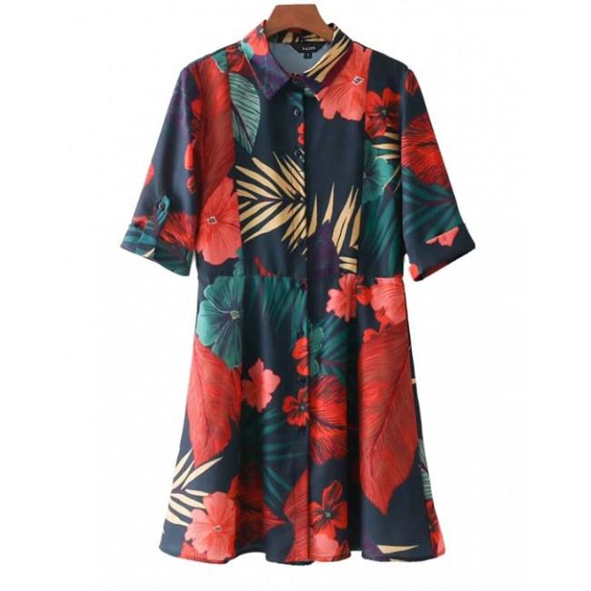 'Ember' Floral Button-Up Shirt Dress