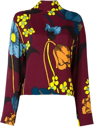 blouse print red top