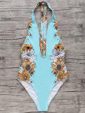 swimwear,blue,one piece swimsuit,floral,summer,beach,hot,bikini,dressfo