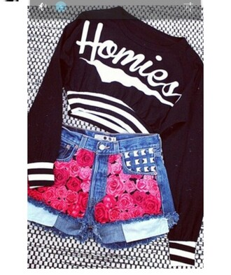 shorts jeans rose print studs pink shirt