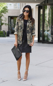 hello fashion,t-shirt,skirt,jacket,shoes,sunglasses,bag,camouflage military jacket,vintage camouflage jacket,camo jacket,cute,military style,fashion,green jacket,black,brown