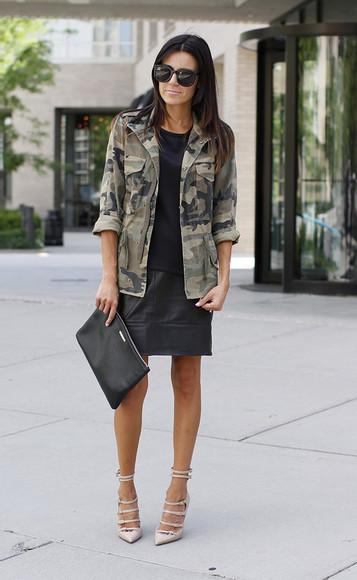 brown cute jacket fashion black camo jacket military green jacket shoes hello fashion t-shirt skirt sunglasses bag