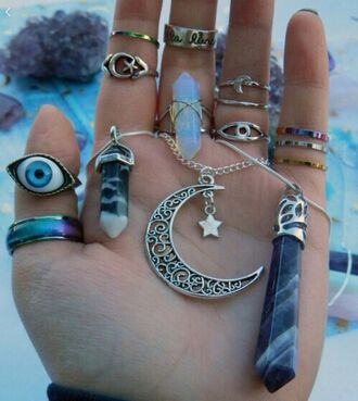 nail accessories ring black moon belly ring neaklace gemstone jewels opalite statement ring jewelry boho jewelry knuckle ring rings and tings raw stone boho boho chic bohemian quartz indie hippie eye moon moon necklace necklace