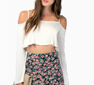 top white crop long sleeves strap floaty