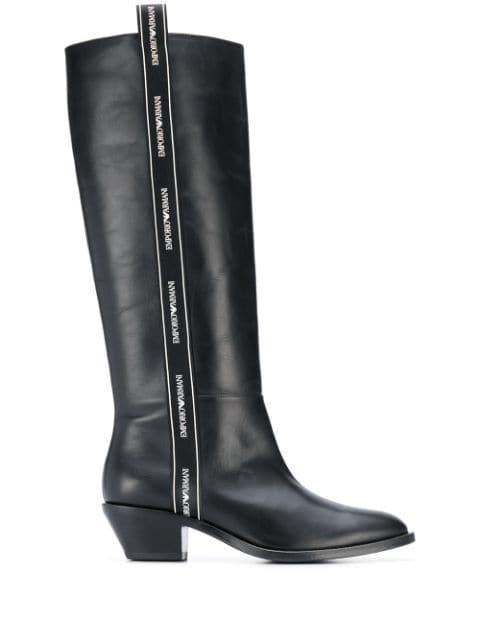 Emporio Armani Logo Trim Boots - Farfetch