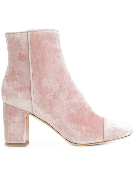 Polly Plume women boots leather velvet purple pink shoes