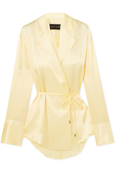 Michael Lo Sordo blouse back open pastel silk yellow satin pastel yellow top