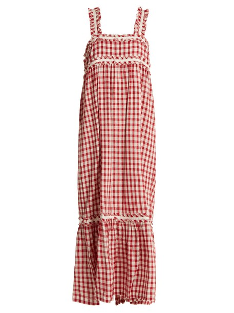 Lee Mathews dress cotton gingham white burgundy