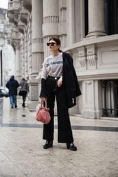 t-shirt,blazer,bag,velvet,velvet bag,pink bag,boots,black boots,logo tee,jeans,black jeans,wide-leg pants