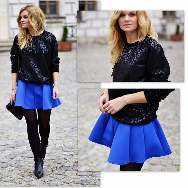 Blue Textured Flare Skirt | Choies