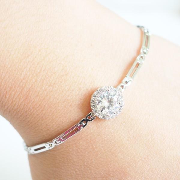 Silver Moon Bracelet Circle Crystal Bracelet Simple Vintage