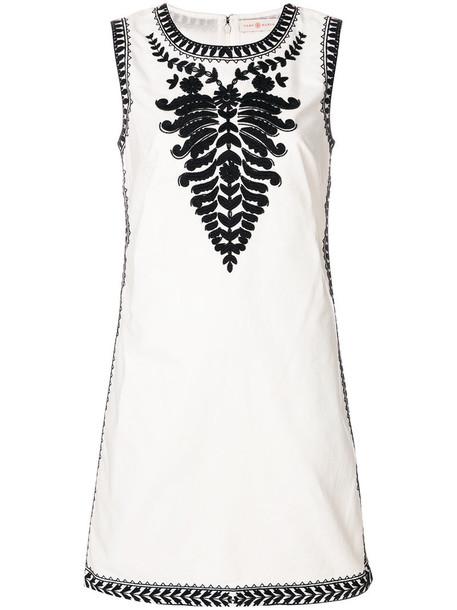 Tory Burch dress shift dress embroidered women white cotton
