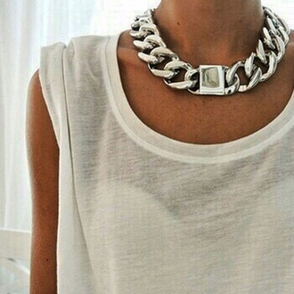 jewels chain choker necklace silver jewelry silver necklace