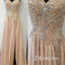 Champagne chiffon beaded long prom dresses, formal dresses - 24prom