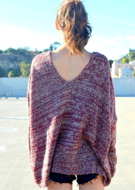 sweater knitwear knit sweaters burgundy maroon/burgundy burgundy sweater oversized sweater v-back v back v back sweater