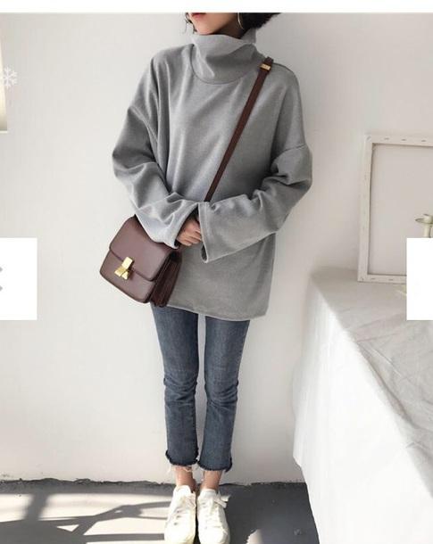 sweater girly grey grey sweater oversized sweater oversized jumper tumblr