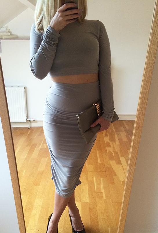 Grey bodycon kim coordinate
