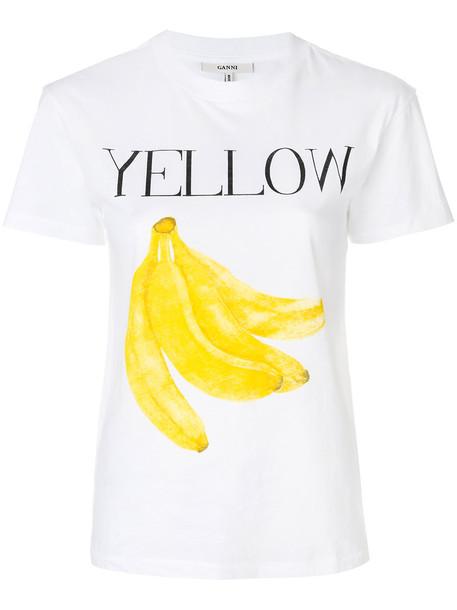 Ganni t-shirt shirt t-shirt women white cotton yellow top