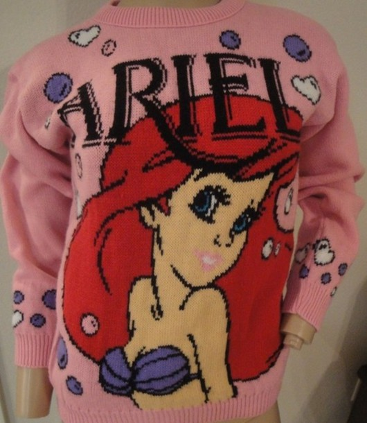 sweater the little mermaid the little mermaid jumper pink