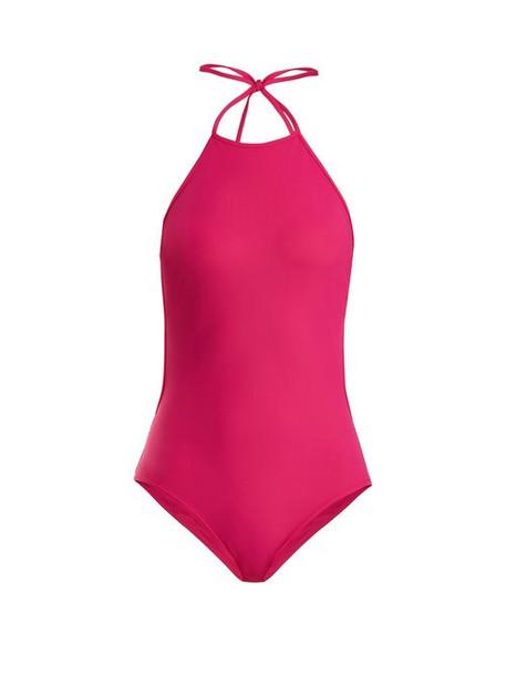 Diane Von Furstenberg - Classic Halterneck Swimsuit - Womens - Pink