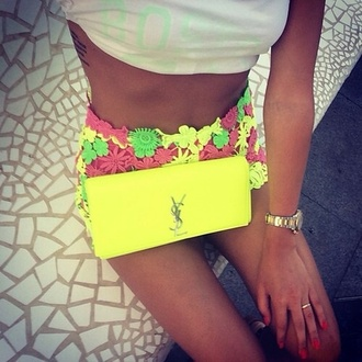 crochet neon shorts bag clutch cluch crystal classy and fabulous neon yellow shinny purse