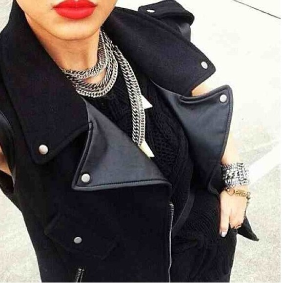 leather jacket biker jacket sleeveless wool longline black lapels grunge fiftyfootfashionista silver details
